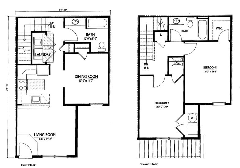 Two bedroom house plans with dimensions joy studio for Basic 2 story house plans