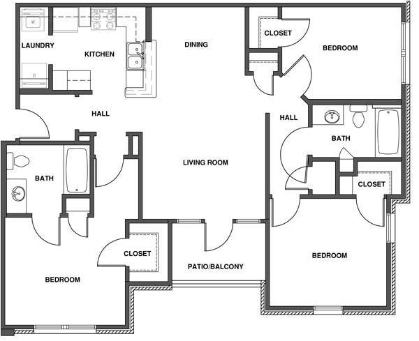 Highland ridge 509 stone dr manhattan ks 66503 for Three bedroom flat plan
